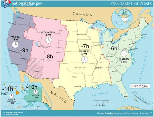 strefy czasowe USA