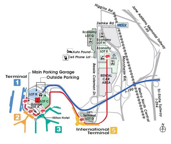 mapa lotniska O'Hare