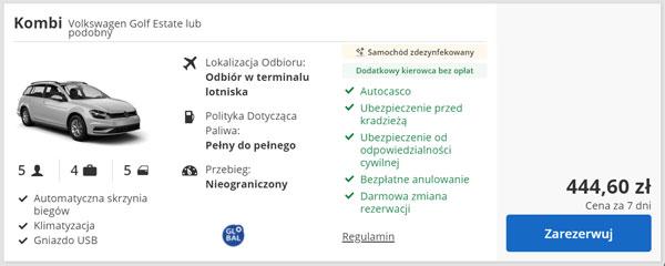 samochód kompaktowy do wynajecia Warszawa