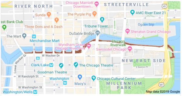 bulwary Chicago mapa