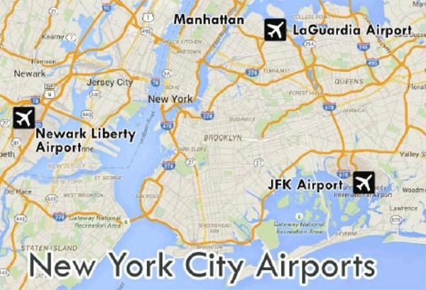 Lotniska Nowego Jorku mapa